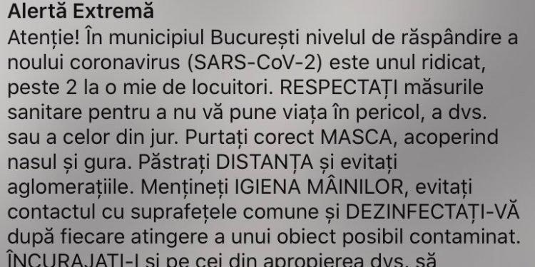 Mesaje RO-Alert în zonele cu rată mare de răspândire a Covid-19