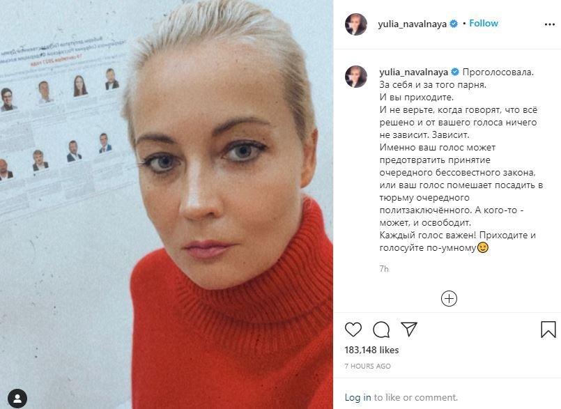 Yulia Navalnaia îndeamnă la vot, sursa Instagram